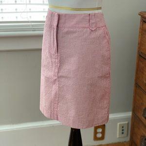 LOFT Red & White Seersucker Pencil Skirt, Size 0